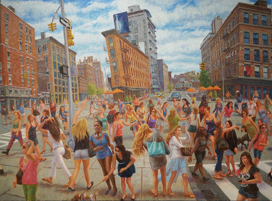 "John A. Parks. ""Girls, 14th Street (Homage to Isabel Bishop)"" 2013 Oil on Linen. 30"" x 40"""