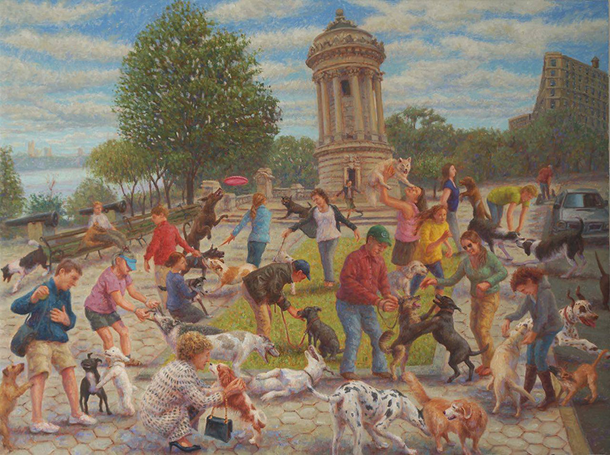 "John A. Parks. ""Dog Walking"" 2014 Oil on Linen. 30"" x 40"""