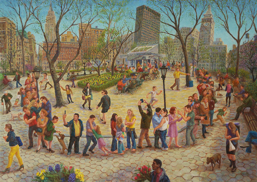 "John A. Parks. ""Shake Shack Line, Madison Square Park. 2014 Oil on Linen. 30"" x 40"""