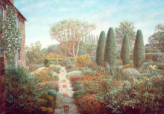 """Sissinghurst"" 1983  Oil on Panel  12"" x 19""  John A. Parks"