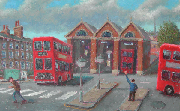 """Bus Station"" Oil on Canvas (Fingerpainting) 9"" x 16"" John A. Parks"