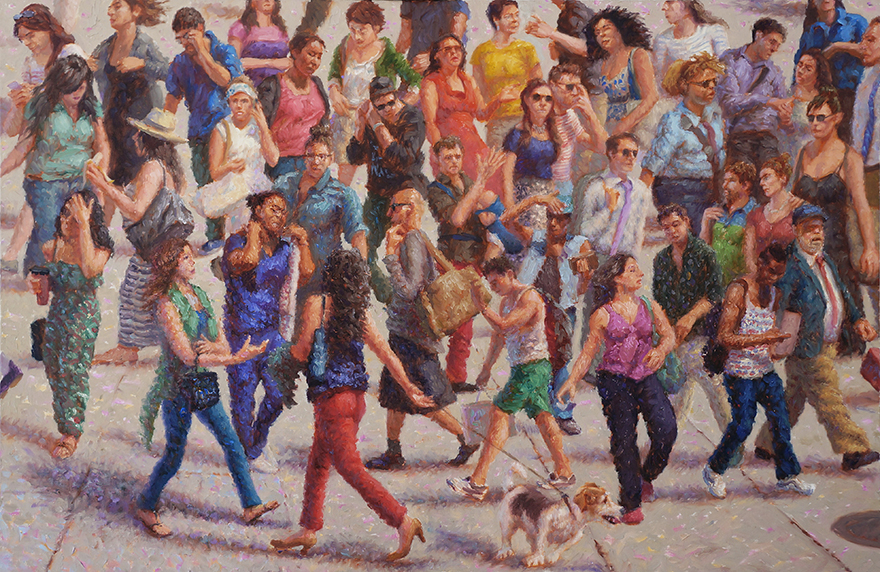 "John A. Parks. ""Crowd Study"" 2014 Oil on Linen 21"" x 32"""