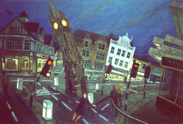 """Market Cross"" 1987 Oil on canvas 2"" x 44""  Destroyed  John A. Parks"