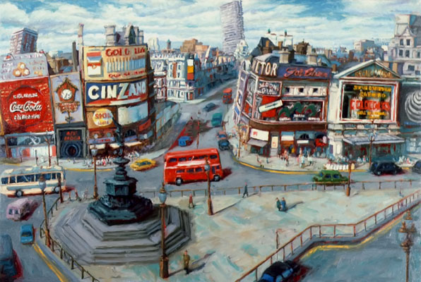 """Picadilly Circus"" 1987 Oil on Canvas 16"" x 24"" John A. Parks"