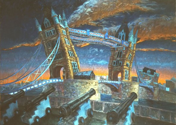 """Tower Bridge"" 1987 Oil on canvas  32"" x 48"" John A. Parks"